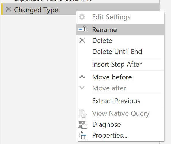 How to rename a Query step