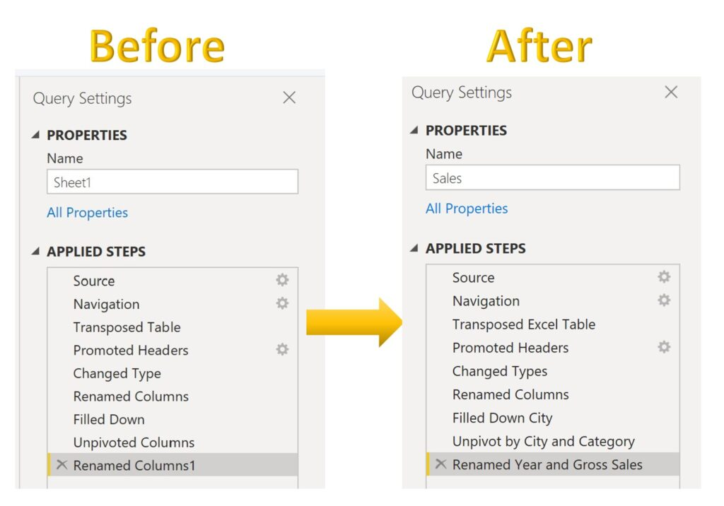 Query steps before and after being renamed